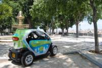Downtown Lisbon in an Electric Car with GPS Audio Guide