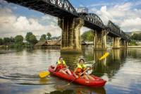 Full-Day Kayaking and Cycling Trip from Kanchanaburi Including Death Railway