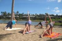 Morning Yoga Stretch At Anaehoomalu Bay