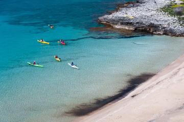 Kayaking at the foot of Mount Taygetos
